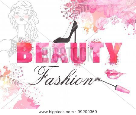 Stylish text Beauty Fashion with illustration of young modern girl on color splash background, can be used as poster, banner or flyer design.