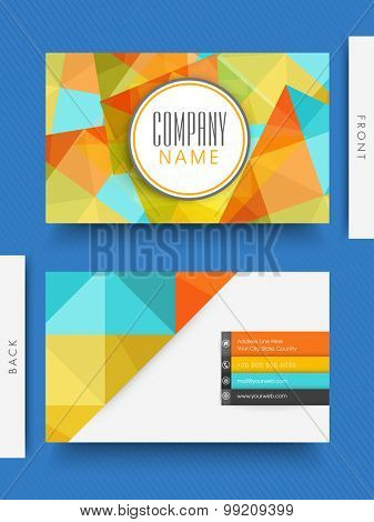 Abstract colorful business or visiting card design with two sided presentation.