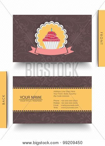 Two sided presentation of stylish business card set with illustration of sweet cupcake for Restaurants and cafe.