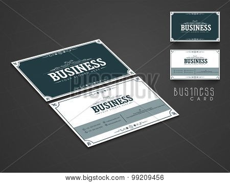 Creative two sided business or visiting card set for your professional use.