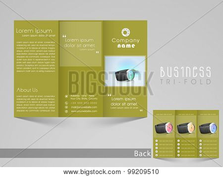 Professional trifold brochure, catalog and flyer template for watch saling business purpose.
