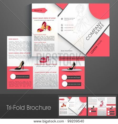 Professional trifold brochure, catalog and flyer template for sandals saling business purpose.
