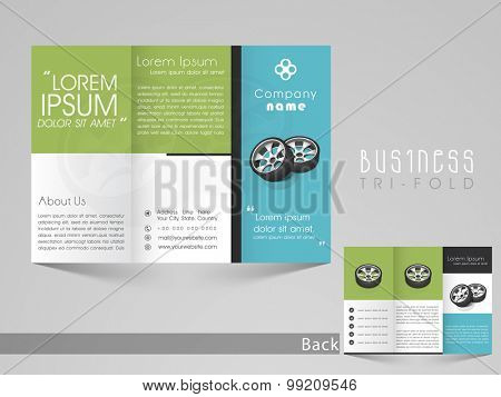 Professional trifold brochure, catalog and flyer template for tires saling business purpose.