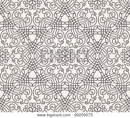 Seamless background in Arabic style. Black and white monochrome wallpaper with patterns for design. Traditional oriental decor