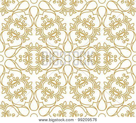 Seamless background in Arabic style. Gold patterns in transparent white wallpaper for textile design. Traditional oriental decor