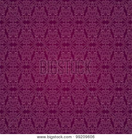 Seamless background in Arabic style. White patterns in red raspberry wallpaper for textile design. Traditional oriental decor