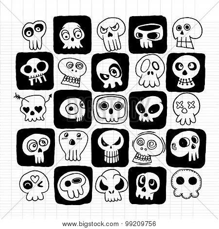 Hand Drawn Skulls Doodles Vector Set