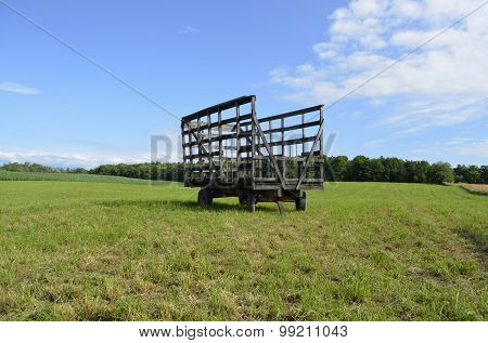 Hay Bale Wagon in the field