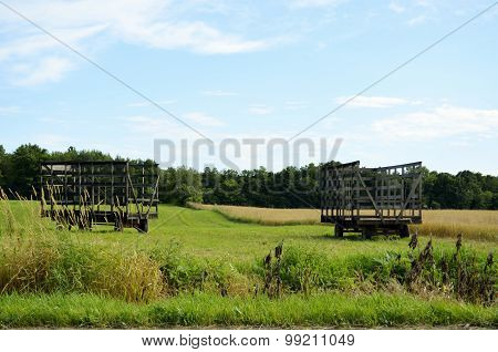 Hay Bale Wagons in the field
