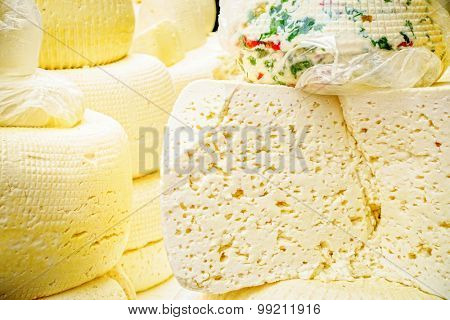 Cheese at a farmers market in Pyatigorsk, Russia