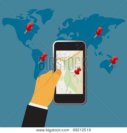 Hand holding digital cellphone,gps concept, vector illustration in flat design for web sites, Infogr