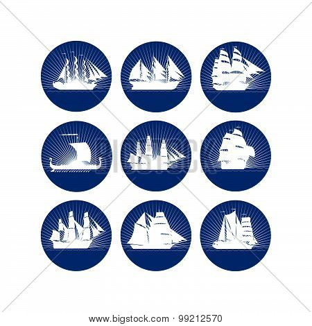 Badges with sailing ships-2