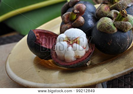 Close Up Mangosteen Cut Half