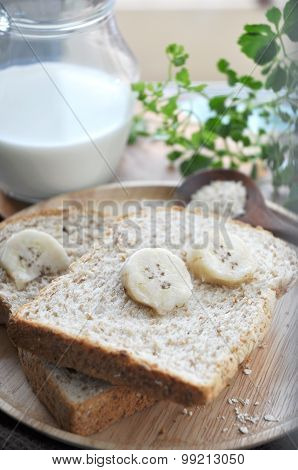 Fresh Banana On Wheat Bread
