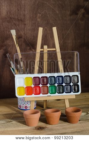 Art Supplies. Watercolor Paint, Brushes, Photography.