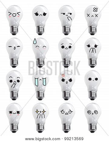 Bulbs emoticon - face action cartoon cute to draw the line