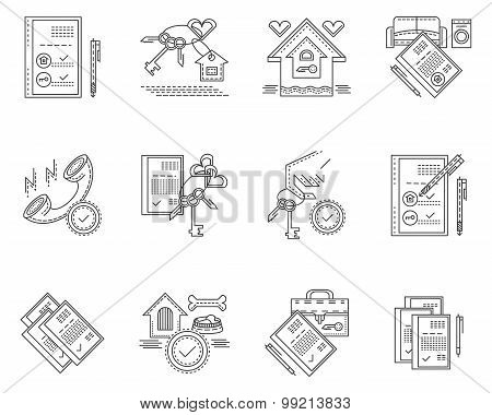 Linear vector icons for rent of house