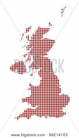 U.K. And Northern Ireland Dot Map Silhouette