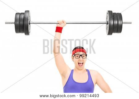 Strong nerdy athlete holding a heavy weight in one hand isolated on white background