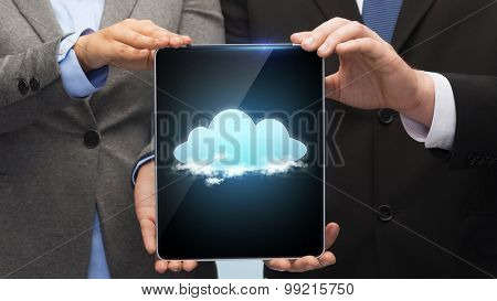 business, technology and internet concept - businessman and businesswoman with cloud on tablet pc screen