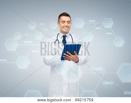 chemistry, biology, technology, people and medicine concept - smiling male doctor in white coat with tablet pc computer and chemical molecule formula over gray background