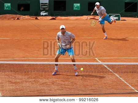 Grand Slam champions Mike and Bob Bryan of United States in action at Roland Garros 2015