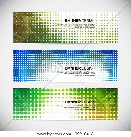 A set of modern vector banners with polygonal background and halftone elements
