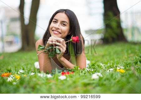 Woman With A Rose