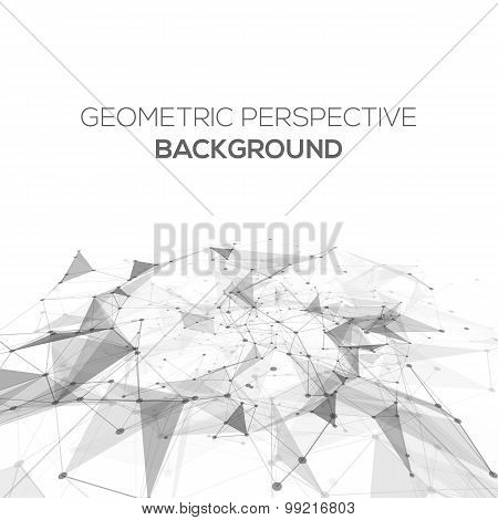 Abstract polygonal perspective low poly background with connecting dots and lines. Connection struct