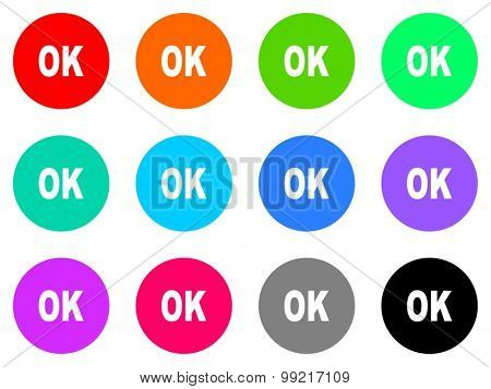 OK flat design modern vector circle icons colorful set for web and mobile app isolated on white background