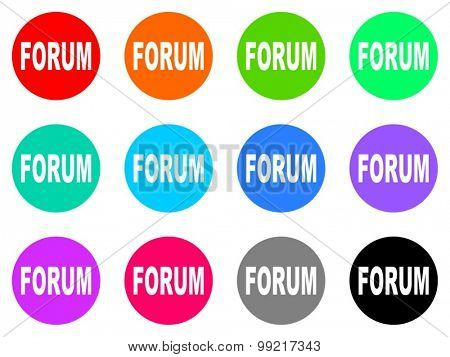 forum flat design modern vector circle icons colorful set for web and mobile app isolated on white background