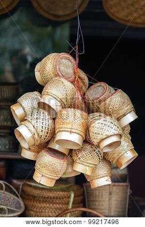 Kratip, Bamboo Basket For Lunch Box In Thailand.