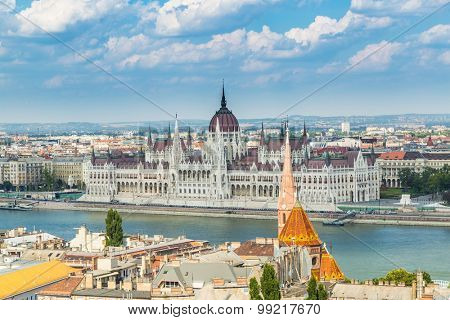 Budapest Hungary, Parliament on Danube river