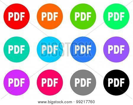 pdf flat design modern vector circle icons colorful set for web and mobile app isolated on white background