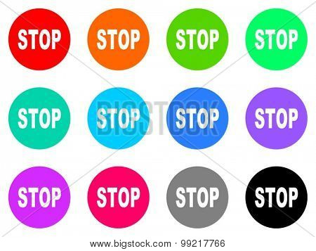 stop flat design modern vector circle icons colorful set for web and mobile app isolated on white background