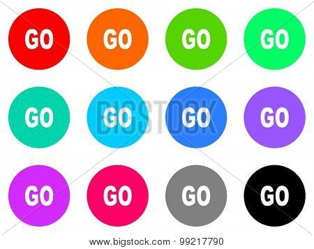go flat design modern vector circle icons colorful set for web and mobile app isolated on white background