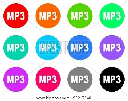 mp3 flat design modern vector circle icons colorful set for web and mobile app isolated on white background
