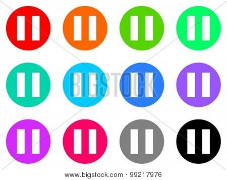 pause flat design modern vector circle icons colorful set for web and mobile app isolated on white background