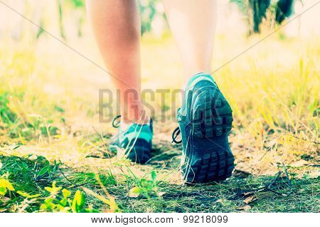 Trekking shoes, hiking or running in a woods concept