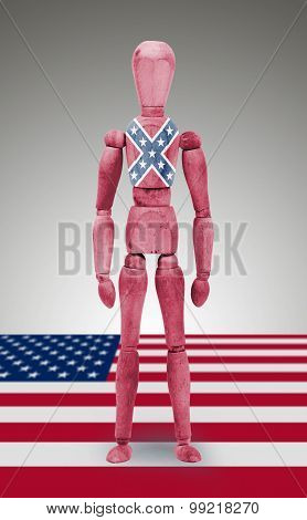 Jointed Wooden Mannequin Isolated On White Background, Confederate Flag