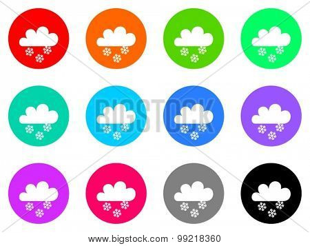 snowing flat design modern vector circle icons colorful set for web and mobile app isolated on white background