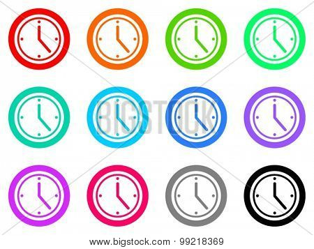 time flat design modern vector circle icons colorful set for web and mobile app isolated on white background