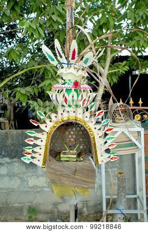 Traditional Offerings For God Befor Build A House In Bali