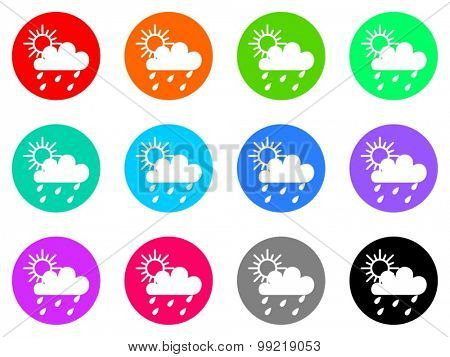 rain flat design modern vector circle icons colorful set for web and mobile app isolated on white background