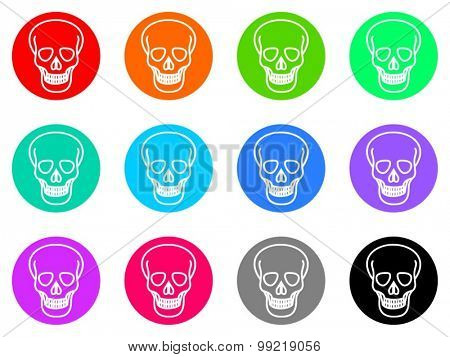 skull flat design modern vector circle icons colorful set for web and mobile app isolated on white background