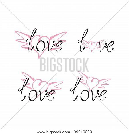 Set Of Love Lettering With Wingy Heart
