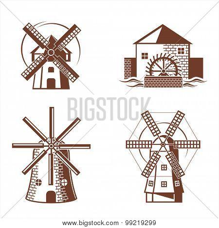 Ancient mill symbols. Vector set.