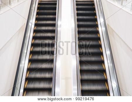 Escalators Up and Down Move Indoor Public Building