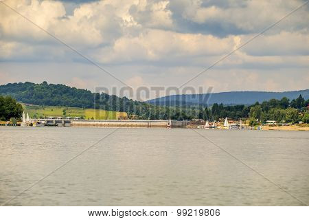 Solina lake in Bieszczady mountains, Poland - dam (the largest dam in Poland)