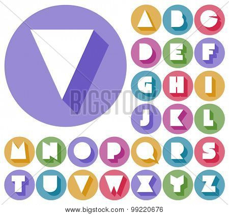 Colorful minimalistic vector alphabet in sticker style. Uppercase letters